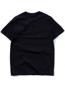 2xl Slim Corta Manga Fit De Camiseta Estampada Negro zqax4IP