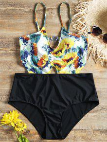 مونوكيني بخصر مرتفع ذو مقاس كبير مزين بطبعة أزهار دوار الشمس - أسود 3xl