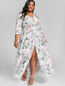 فستان طويل ذو مقاس كبير بشق أمامي وأزرار - الأزهار Xl