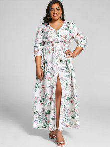 8c66cdf16d2 36% OFF  2019 Button Up High Slit Plus Size Maxi Dress In FLORAL