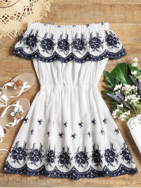 fancy Off Shoulder Embroidered Cover Up Dress - WHITE S
