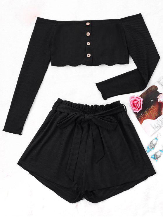 lady Ribbed Crop Top and Wide Leg Shorts - BLACK L