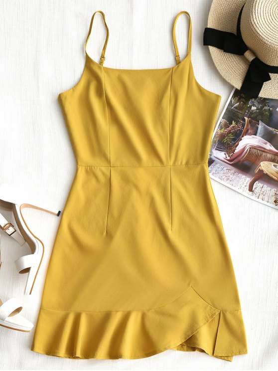 affordable Back Zip Ruffle Slip Mini Dress - MUSTARD L