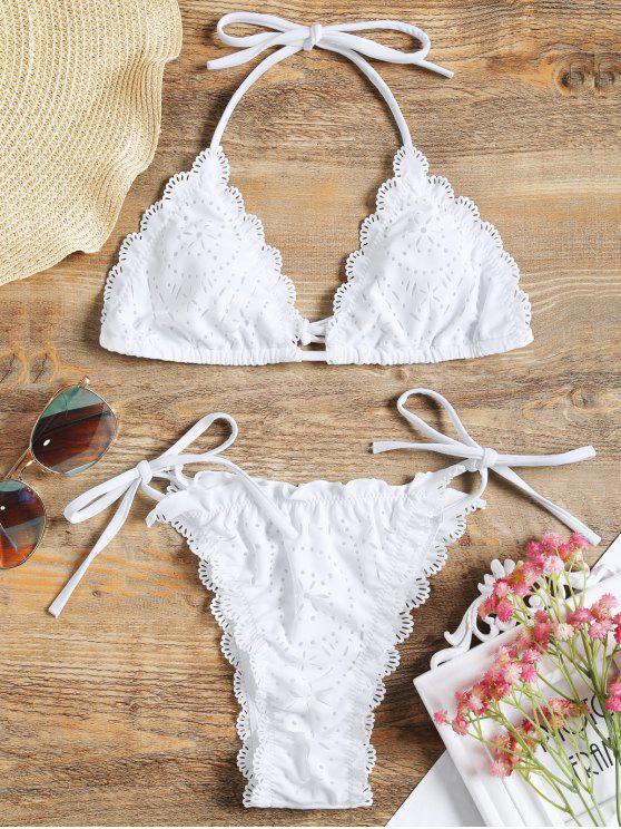 shop Laser Cut Halter String Bikini Set - WHITE M