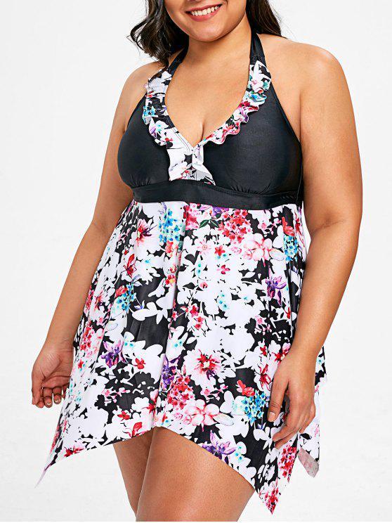 بدلة تنكيني الحجم الكبير طباعة الأزهار - أسود 3XL