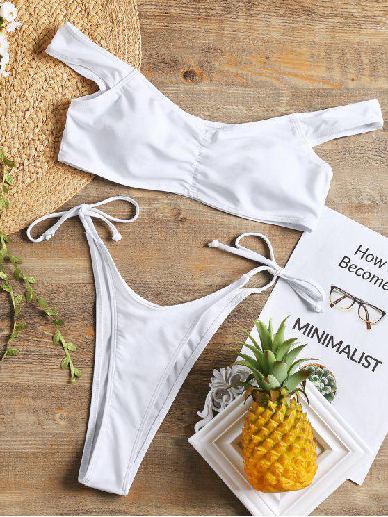 Ensemble Bikini Froncé à Coupe Haute - Blanc S