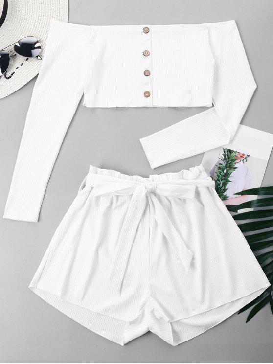 outfits Ribbed Crop Top and Wide Leg Shorts - WHITE S