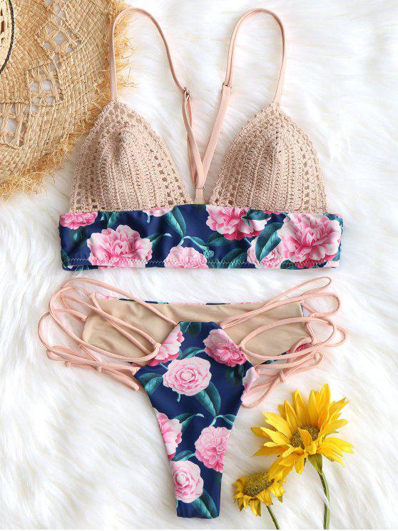 Sujetador de natación con inserción de crochet y parte inferior con cordones - Floral S