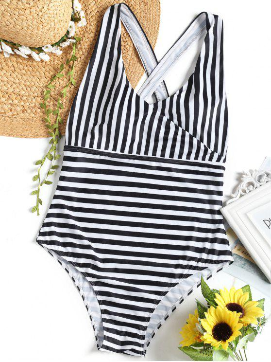 Cross Back Striped Surplice Swimsuit - Branco e Preto XL