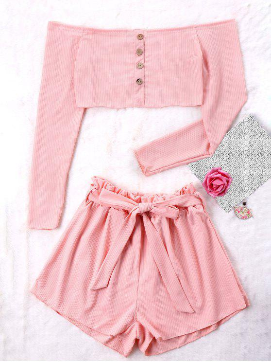 online Ribbed Crop Top and Wide Leg Shorts - PINK M