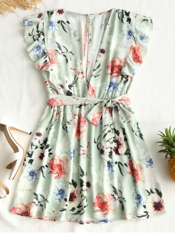 womens Floral Cut Out Ruffle Mini Dress - LIGHT GREEN L