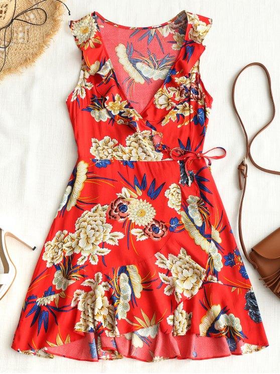 ladies Floral Ruffle Asymmetrical Mini Dress - RED S