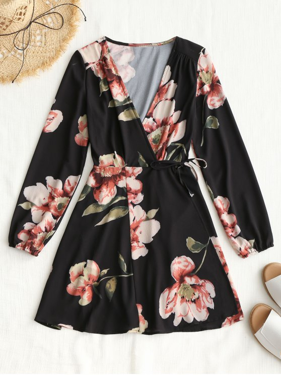latest Long Sleeve Wrap Floral Mini Dress - BLACK S