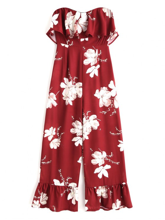 womens Floral Ruffle Strapless Jumpsuit - DEEP RED S