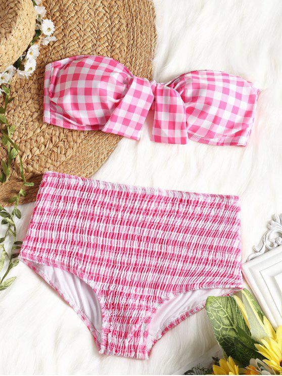 1cd3c197bd Plaid Bandeau Bikini Top With High Waisted Smocked Briefs - Pink And White S