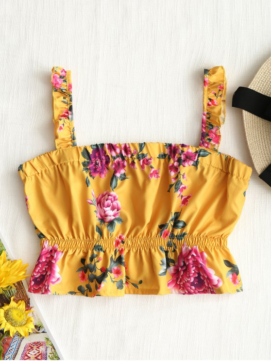 buy Cropped Floral Ruffle Tank Top - YELLOW XL