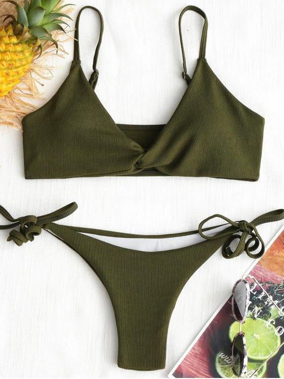 unique Twist Ribbed Bikini Set - ARMY GREEN L