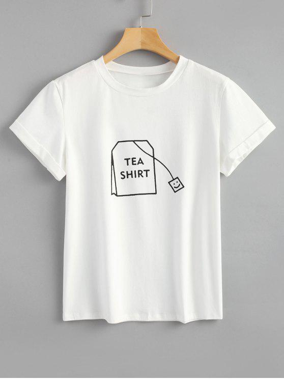 womens Tabs Graphic Cute T Shirt - WHITE M