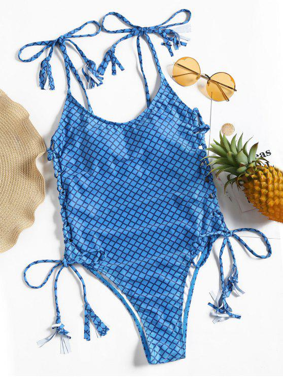 affordable Plaid Lace-up High Cut Swimsuit - BLUE S