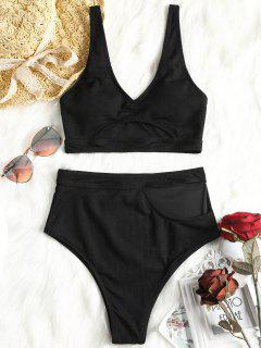 Tauchausschnitt Hoch Taillierter Bikini - Schwarz 2xl