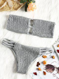 Bandeau Smocked Bikini Bra With Bottoms - Gray M