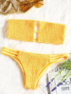 Bandeau Smocked Bikini Bra With Bottoms - Yellow L
