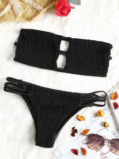 Bandeau Smocked Bikini Bra With Bottoms - Black M