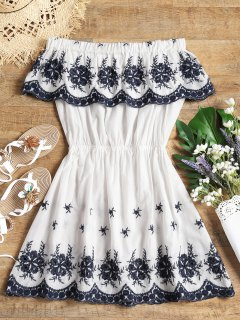 Off Shoulder Embroidered Cover Up Dress - White S