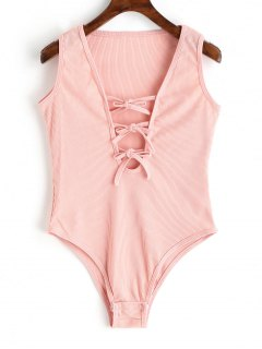 Plunge Sleeveless Tie Front Bodysuit - Pink M