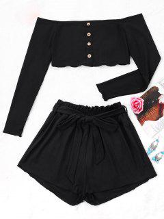Ribbed Crop Top And Wide Leg Shorts - Black M
