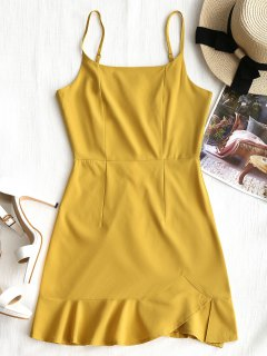 Back Zip Ruffle Slip Mini Dress - Mustard L
