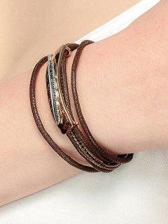 Multiple Rope Feather Alloy Bracelet - Golden