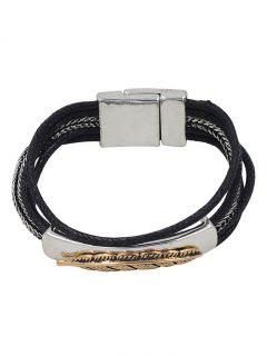 Multiple Rope Feather Alloy Bracelet - Silver