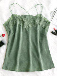 Lace Panel Cami Top - Patina Green Xl