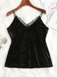 Lace Panel Velvet Cami Top - Black Xl