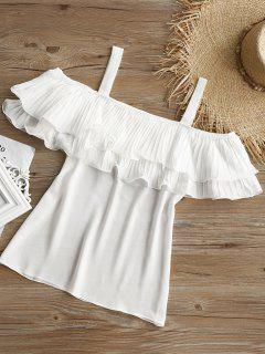 Cold Shoulder Pleated Flounce Blouse - White S