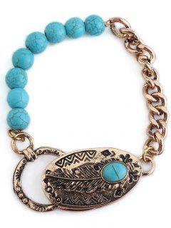 Retro Faux Turquoise Beaded Chain Linked Bracelet - Golden