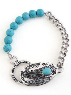 Retro Faux Turquoise Beaded Chain Linked Bracelet - Silver