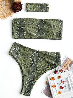 Bandeau Snakeskin High Cut Choker Bikini - Green L