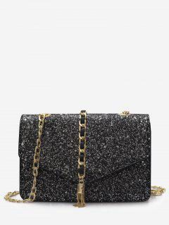 Glitter Chain Flap Crossbody Bag - Black