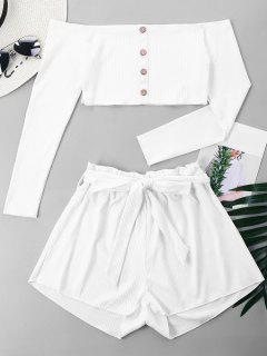 Ribbed Crop Top And Wide Leg Shorts - White Xl