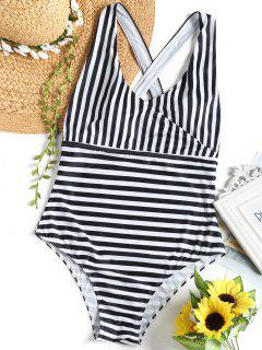 Cross Back Striped Surplice Swimsuit - White And Black 4xl