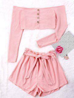 Ribbed Crop Top And Wide Leg Shorts - Pink M