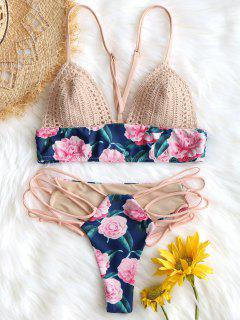 Crochet Insert Swim Bra With Lace Up Bottoms - Floral M