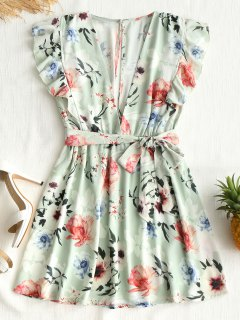 Floral Cut Out Ruffle Mini Dress - Light Green M