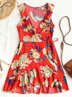 Mini Robe Asymétrique Florale à Volant - Rouge L