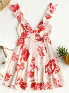 Floral Plunge Ruffle Mini Dress - Light Apricot M