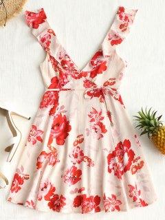 Mini Robe Florale Plongeante à Volant - Abricot Clair L