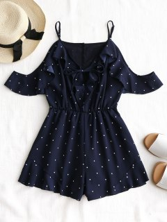 Frilled Cold Shoulder Polka Dot Romper - Purplish Blue M