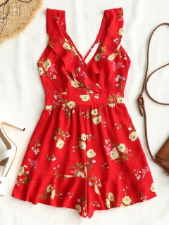 Criss Crosss Floral Ruffle Romper - Red L